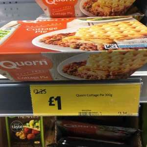 Quorn cottage pie 300g was £2.25 now reduced to £1 instore at Morrisons Acomb, York.