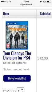 Tom Clancy the division ps4 at Playtime for £12 (used)