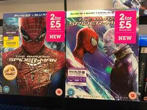 The Amazing Spider-Man 3D and The Amazing Spider-Man 2 3D on Blu-Ray. £5 for both or £2.99 each, New instore at That's Entertainment