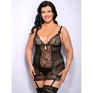 Lovehoney Plus Size Love Me Lace Chemise Set Black | Babydolls & Chemises | Lovehoney - £12