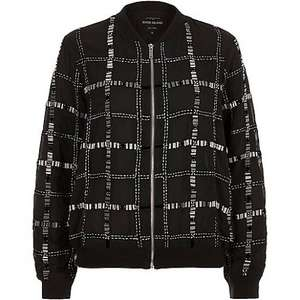 Black embellished bomber jacket, reduced from £60 to £15 at River Island with collect from store