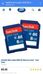 SanDisk Blue Label 8GB SD Memory Card - Twin Packfor £5.25 @ Boots.com + free C&C