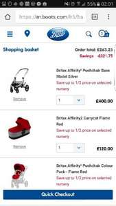 Britax affinity 2 pram, plus carry cot and colour pack with an rrp of over £500 for only £263.05 with code @ Boots