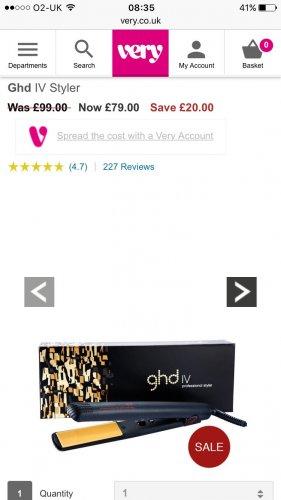 Ghd straightner £79 @ very