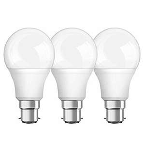 OSRAM Classic Bulb Shape Frosted A/LED Lamp with Bayonet Base, Warm White, B22d, 9.50W, 2700 k, Pack of 3 £7.99 Prime / £11.98 Non Prime @ Amazon