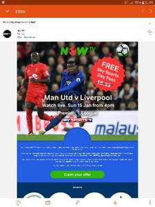 Free Now TV Sky Sports day pass (Man U v Liverpool)