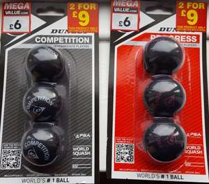 Dunlop Squash balls (all levels) - pack of 3 for £6 / 2 packs £9 - In-store at Sports Direct