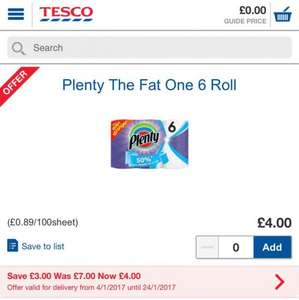 Plenty Fat One 6 Kitchen Rolls £4 @ Tesco