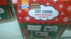 Cat cabin full of cat treats reduced from £3 down to 90p in sainsburys stanway