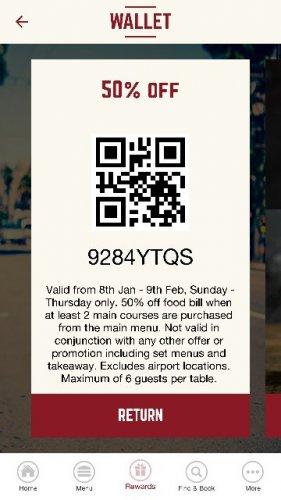 Coast2Coast restaurant 50% discount with app voucher
