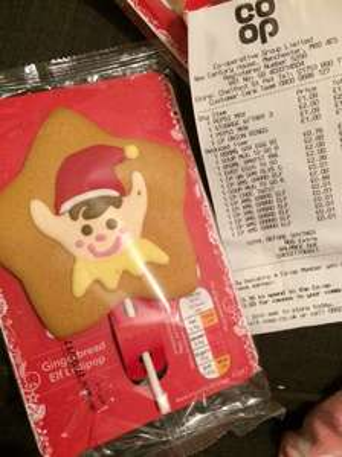 Gingerbread elf lollipop - scanning at 1p @ Co-Operative