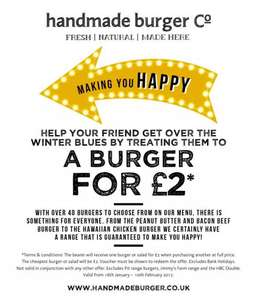 Buy 1 full price and get another for £2 on any burgers at Homemadeburgers