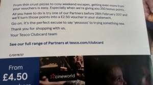 250 bonus Tesco Clubcard Points (worth up to £10) when you spend Clubcard vouchers with partners
