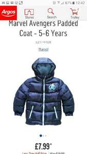 Buy Marvel Avengers Padded Coat - 5-6 Years £7.99 at Argos