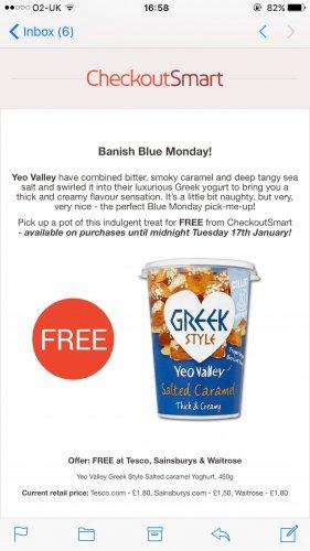 Free Yeo Valley Greek Style Salted Caramel yoghurt 450g tub @ Checkoutsmart