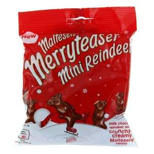 Christmas stock at One Stop inc. Maltesers reindeer 25p / pringles / family circle biscuits