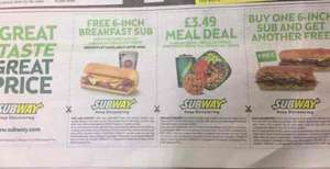 3 offers in 1 from Subway.  1- FREE 6-inch Sub with a Regular Hot Drink (cheapest regular hot drink at £1.29 in some places?).  2- Buy one 6-inch, get another 6-inch free. 3- Meal Deal for £3.49.