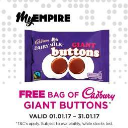 Free bag of Cadbury Giant Buttons from Empire Cinemas