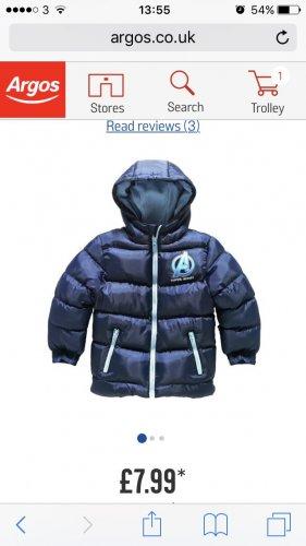 Marvel avengers puffa coat £7.99 @ Argos
