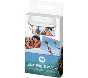 Zink photo paper for HP Sprocket printer 60 sheets for £19.98 @ HP store