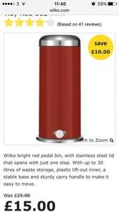 30l pedal bin in red, black or cream - £15 @ Wilko