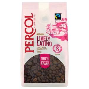 "Spotted in Poundland Eastbourne - possibly nationwide.Percol ,""Lively Latino"" Organic & Fair Trade coffee beans. Strength No 3. £1.00"