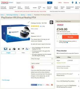 PS VR Back in Stock £349.99 for Pre-order in Tesco - Delivery 31/01/2017