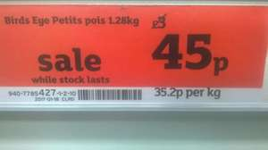 Birds Eye Petits Pois 1.28Kg down to 45p instore @ sainsburys