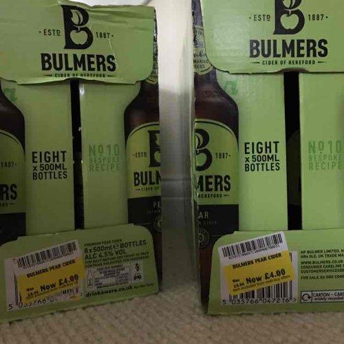 Bulmers pear cider   8x500ml bottles. £4 Morrisons