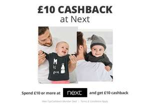 Spend £10 at NEXT and get £10 casback -  New Topcashback members only