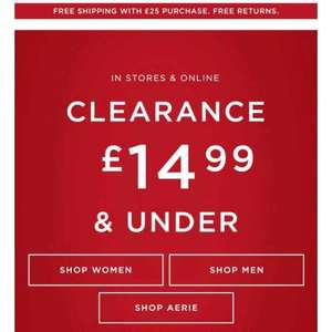 American Eagle Clearance £14.99 & under  - Some good deals with free delivery over £25
