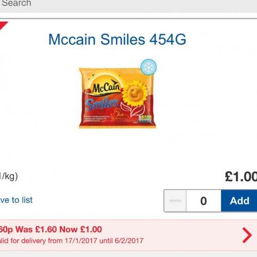 McCain Smile Potato Shapes 50p at Tesco