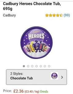 Cadburys heroes chocolate tub 695g £2.36 Amazon Fresh (Selected postcodes only)