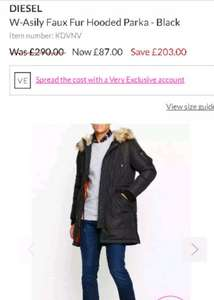 diesel Faux Fur Hooded Parka - Black was £290 now £87 @ very exclusive