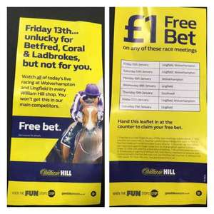 FREE £1 bet at William Hill