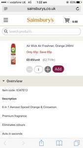 Air wick air freshener 65p @ Sainsbury's
