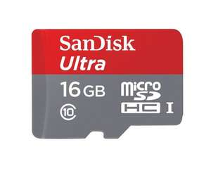 SanDisk Ultra 16 GB MicroSDHC w/ Adapter @ Amazon - £5 (Prime) £8.99 (Non Prime)
