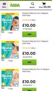 Pampers nappies giga packs sizes 3, 4, 4+,5 and 6 now £10 online and instore @ ASDA