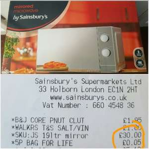 19ltr Mirrored Microwave only £30 instore @ Sainsbury's Exeter (Alphington store)