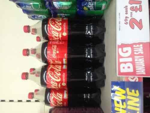 Coke Vanilla 1.75l 2 for £1 or 69p each - Fulton instore