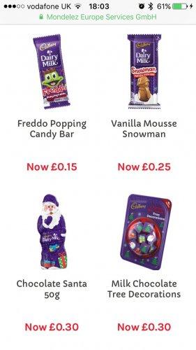 Up to 80% off Xmas goodies on the Cadbury site!