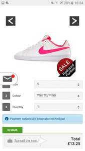 NIKE COURT ROYALE White/pink  trainer's £13.25 @ Littlewoods