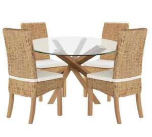 OAK & Glass Dining Table and 4 Rattan Chairs - Was £599.99 Now £150 @ Argos - Plus FREE £10 Argos Voucher