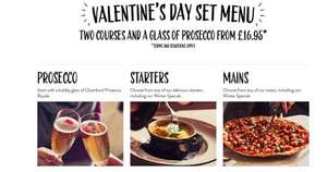 FREE bottle of prosecco when you book a Valentines set menu for £16.95 by 6th Feb to dine 11-14th Feb @ Pizza Express