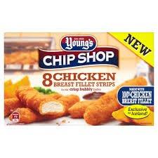 Young's 8 crispy chicken breast strips.  Scanning at 50p instore Tescos Aldershot