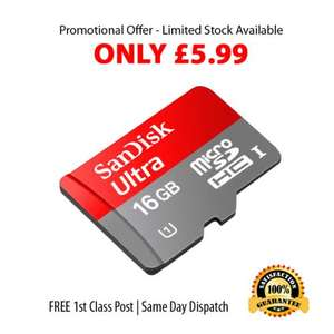 Genuine 16GB SanDisk Ultra Micro SD Card 48MBs Class 10 SDHC  plus Adapter £5.99 delivered @ shabanak2006 / ebay