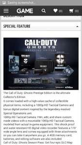 Call Of Duty: Ghosts - Prestige Edition On PS3 £24.99 @ Go2Games via Game