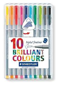 Staedtler 334 Triplus Fineliner Superfine Point Pens, 0.3 mm - Assorted Colours, Pack of 10 £2.63 on Amazon (Add-on item)