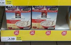 Quaker oats 22 sachets just £1.30 rrp £3.99 instore @ Tesco Leicester Narborough Road