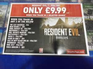 Resident Evil 7 £9.99 When Trading In 2 Games At Smyths